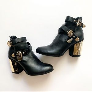 JustFab• leather black and gold heeled booties